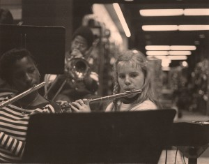 the author, in eighth-grade band, with Montiqua Andino, flute (photo by Heather Simpson, also in eighth-grade)
